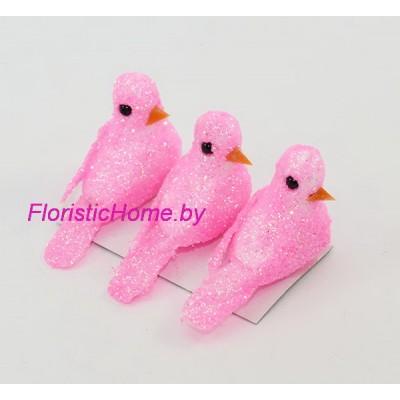 ПТИЧКИ Голубь в глиттере 3 шт., L 5,5 см, розовый