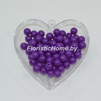 БУСИНКА, пластиковая круглая, d 0,8 см, 20 гр., фиолетовый