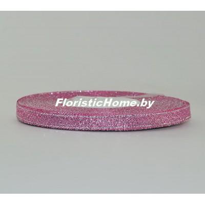 ЛЕНТА ДЕКОРАТИВНАЯ  парча, h 0,6 см х 1 м, темно-холодно-розовый