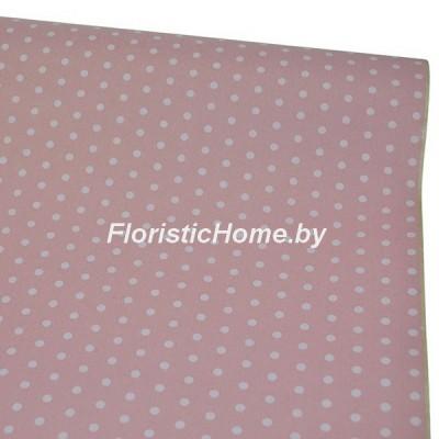 УПАКОВОЧНАЯ БУМАГА крафт 40 г/м2, Горох № 1 на розовом фоне, h 60 см х 10 м, розовый-белый