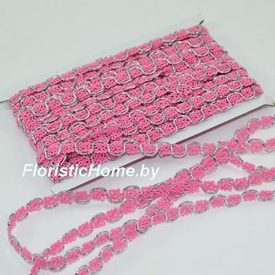 ТЕСЬМА декоративная, №2, h 1,3 см х 1 м, розово-коралловый-серебро