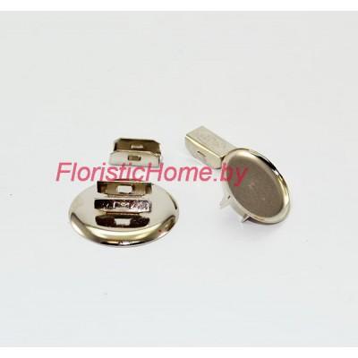 ЗАГОТОВКА ДЛЯ БРОШИ Основа для резинки ( из двух частей), d 3 см, металл, под никель