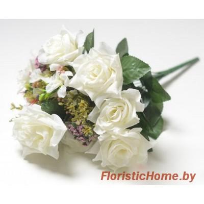 БУКЕТ ЦВЕТОВ Розы с каланхоэ, h 43 см, молочный