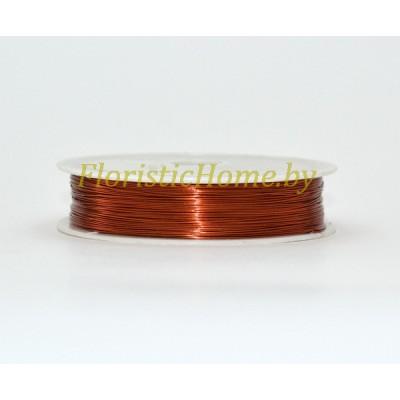 ПРОВОЛОКА , для бисера на катушке, d 0,4 мм х L 50 м, 50 гр., медный