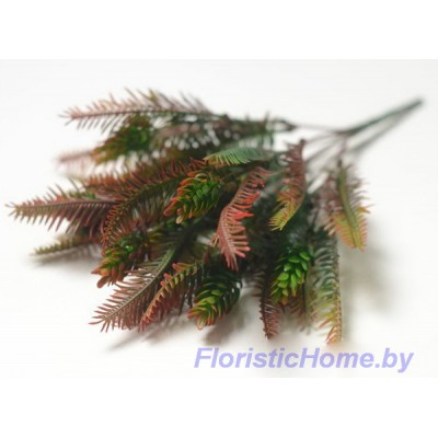 ВЕТКА Куст папоротника с шишками хмеля, Пластик, L 35 см, бордовый-темно-зеленый