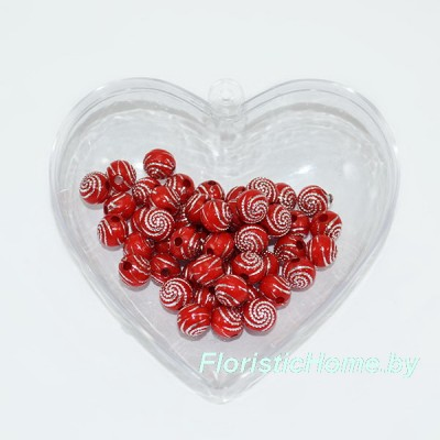 БУСИНКА,  декоративная, Дизайн №2, 50 шт., d 0,6 см, , красный