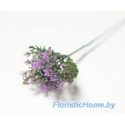 ВЕТКА С мелкой листвой , Пластик, h 21 см, ярко-пурпурно-фиолетовый-темно-зеленый