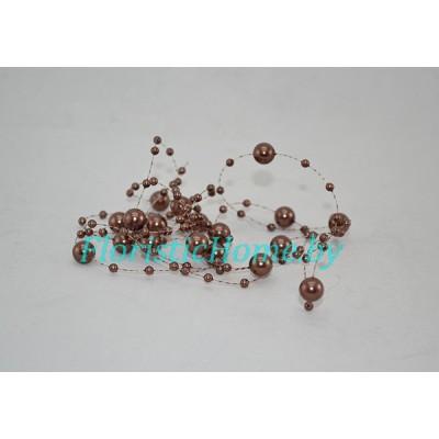 БУСИНКА, круглая на леске d 0.7 cм, L 1,3  м, , коричневый
