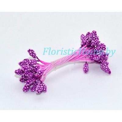 ТЫЧИНКИ В обсыпке на нити 25 штук в пучке , d 0,4 см, светло-фиолетовый,